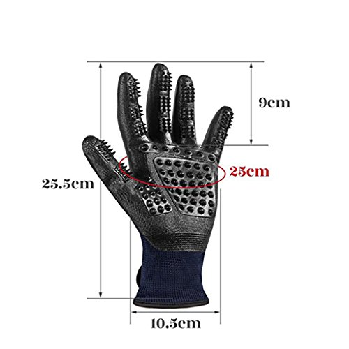 Pet Grooming Mitt Glove -Gentle Deshedding Glove Heavy Duty Deshedding Tool For Cats, Dogs & Horses Short, Long Hair Removal - Pair Of Left & Right Black Mitt,Blue,5Pair by LCYCN (Image #1)