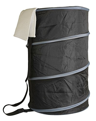 Portable Lightweight Mesh Barrel Pop-Up Laundry Hamper Keep Your Dirty Laundry Off The Floor (Black & Grey) (Bin Liners Vipp)