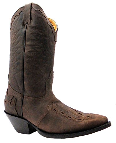 a on Western Leather Smart Unisex Range Slip Arizona Stivali Punta Brown Grinders Boot Cowboy qxwv17FCvg