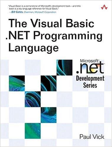 The Visual Basic .NET Programming Language: Paul Vick: 0785342169515: Amazon.com: Books