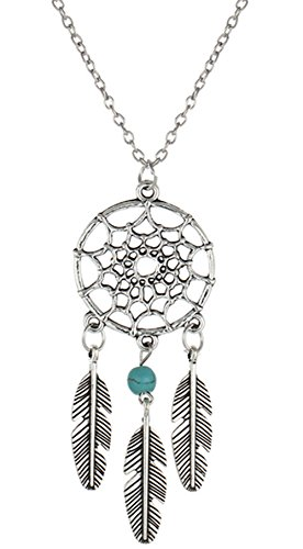 stylesilove Womens Dream Catcher Turquoise Beads Pendant Necklace (Silver Feathers with 1 Green Bead)