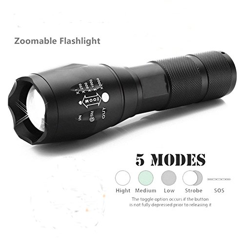 [Shenboxun 900lumens LED Focus Flashlight,5 Adjustable Modes Zoomable LED Tactical Flash light Torch Lamp Aluminum LED Flashlight Lighting Lamp (battery Not Included)] (Led Aluminum Torch)