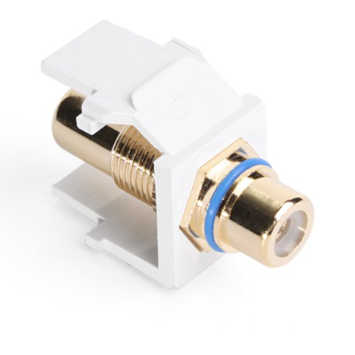 (Leviton 40830-BWL QuickPort RCA, Gold-Plated Connector with Blue Stripe, White)