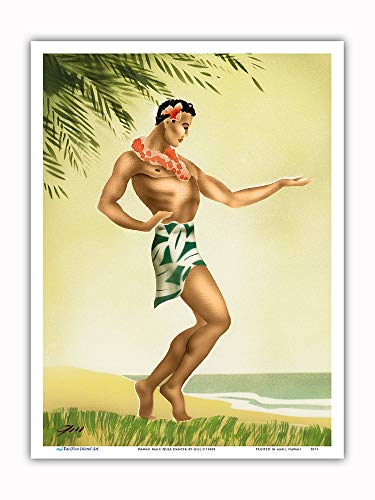 Pacifica Island Art - Hawaii Male Hula Dancer - Vintage Hawaiian Airbrush Art by Gill c.1940s - Master Art Print - 9in x 12in