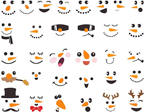 Mozamy Creative Snowman Decals Christmas Wall Decals Snowman Faces Decals Christmas Pantry Decals Snowman Refrigerator Decals Winter Decor Christmas Decorations