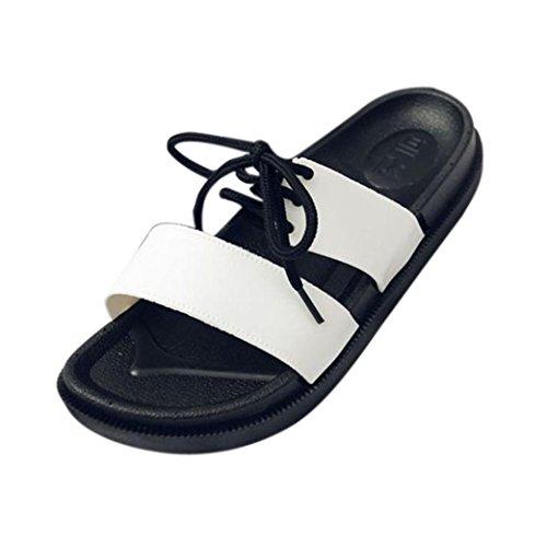 Sandali Estivi Inkach - Sandali Unisex In Ecopelle Con Lacci Sandali Casual Pantofole Da Bagno Scarpe Basse Da Spiaggia Bianche