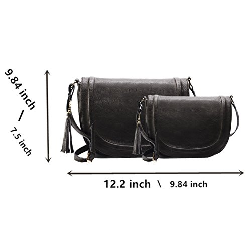 by with for Bag Women Saddle AMELIE Black GALANTI Purses Tassel Crossbody Shoulder Large npwzHq0C