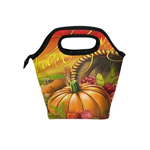 HEOEH Happy Thanksgiving Day Pumpkin Vegetable Lunch Bag