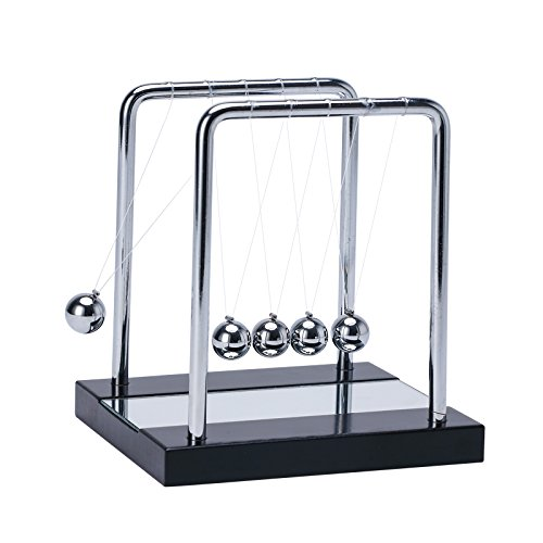 Medium Christmas Balls (Newton's Cradle Balance Balls with Wooden Base Physics Science Classroom Psychology Puzzle Desk Toy,Fun Accessory-with mirror (Medium-5.3 x5.1 Inch))