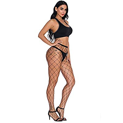 Stananey Womens High Waist Tights Fishnet Stockings Thigh High Pantyhose (Black-Large Hole) at Women's Clothing store