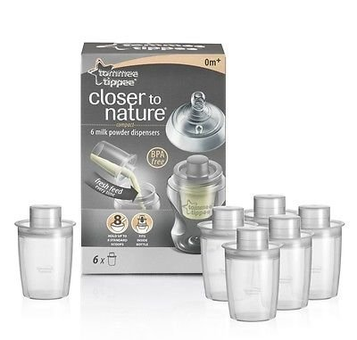 Tommee Tippee Closer to Nature Baby Milk Powder Dispensers 6 Pack Brand New Good Gift for Mom and Baby Fast Shipping Ship (Dispenser Ships)