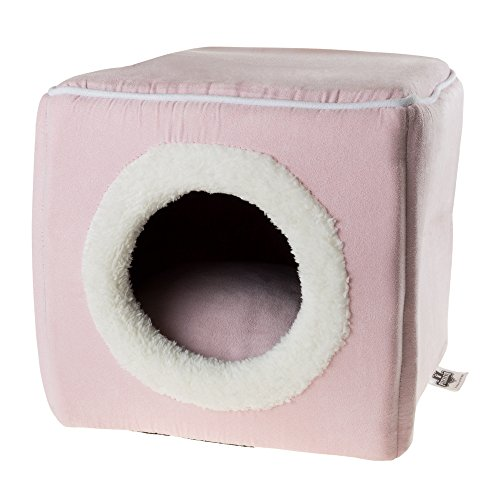 Cat Pet Bed, Cave- Soft Indoor Enclosed Covered Cavern/House for Cats, Kittens, and Small Pets with Removable Cushion Pad by PETMAKER (Pink) ()