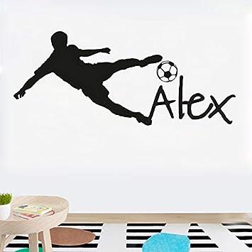 YSQARS Nombre Personalizado Balón de fútbol de fútbol Vinilo Tatuajes de Pared Poster Art niños Etiqueta de la Pared decoración de la habitación de los ...