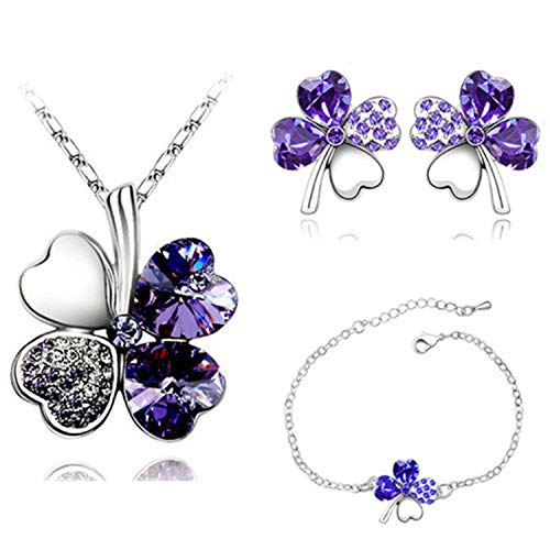 (4 Leaf Leaves Heart Pendant Jewelry Sets Necklace Earrings Bracelet Women Lover Silver Purple)