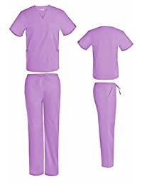 Unisex V-Neck Scrub Set DSF Medical Uniform Women Men Top Pants 1826