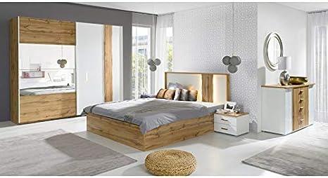 Commode et 2 chevets tendencio Chambre /à Coucher compl/ète Marco Bois et Blanc avec lit 160x200