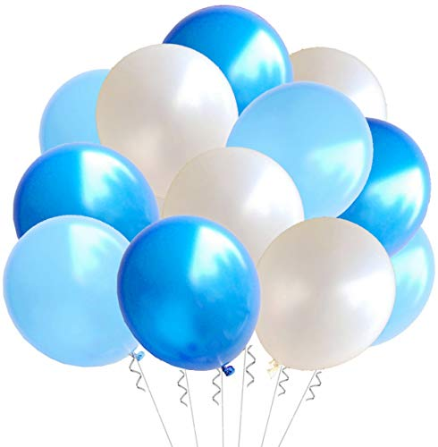 Elecrainbow 100 Pack 12 Inch 3.2 g/pc Thicken Round Pearlescent Latex Balloons for Party Decorations, White Dark Blue Light Blue Assorted ()