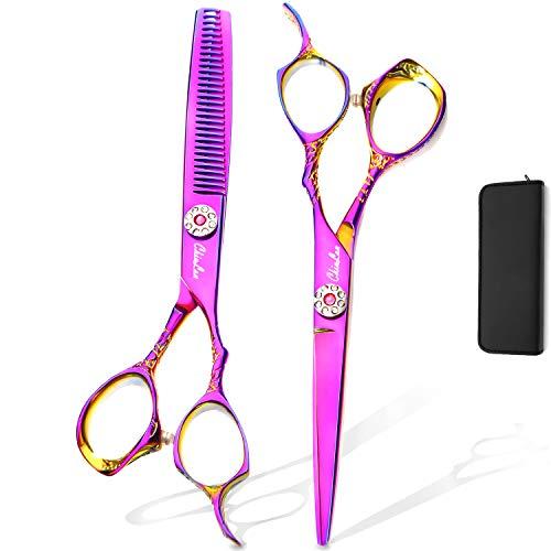 "Chiulan 6"" Shears Set Hairdressing Haircut Kits Sets of 6 Salon Shear Hair Professional Sharp Hair Cutting Thinning Scissors Set Kit for Barber Stylist Color"