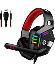 Gaming Headset for PS4, Comfort Noise Reduction Crystal Clarity 3.5mm LED Professional Headphone with Mic for Xbox One PC Laptop Tablet Mac Smart Phone