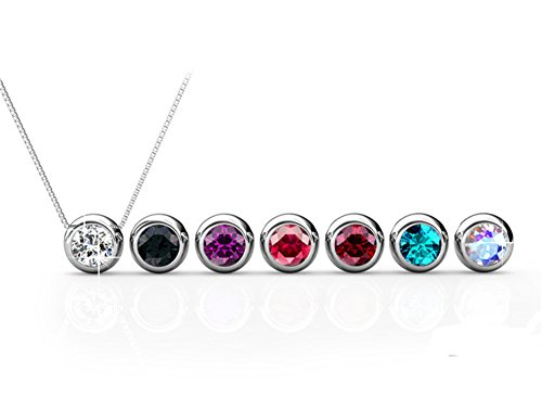 R-timer Women's Swarovski Elements 18K Pendant Necklace 7 Colors Pendant Valentine's Gift with Box (7 days Moon Necklace)
