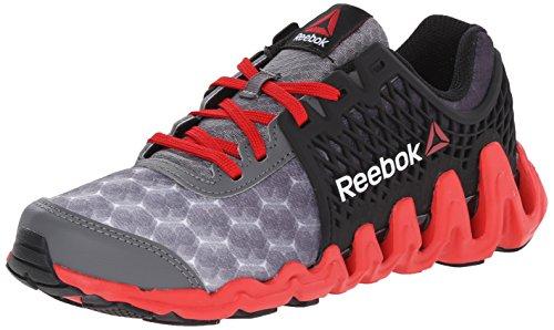 Reebok Zigtech Big N Fast EX Running Shoe (Little Kid/Big Kid), Shark/Black/Red Rush/White, 11 M US Little Kid