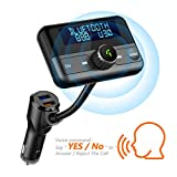 [Voice Command] Car Bluetooth FM Transmitter, Wireless Radio Adapter Hands-Free Calling 4.2 Bluetooth QC3.0 and Smart 2.4A Dual USB Ports, AUX Input/Output, TF Card USB Drive Mp3 Player
