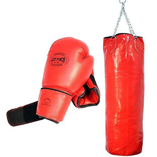 Pro Red Adult Boxing Gloves and Full Size Punching Bag Gym Excercise by Generic (Image #1)