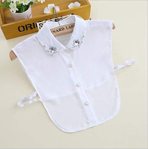 a987611a24 Amazon.com  Women False Detachable Collar Sweater Shirt Fake Collars  Vintage Diamond Crystal Beading Chiffon Blouse B46 white  Beauty