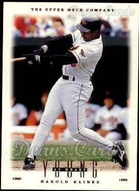(1996 Upper Deck # 112 Young at Heart Harold Baines Baltimore Orioles (Baseball Card) Dean's Cards 8 - NM/MT Orioles)