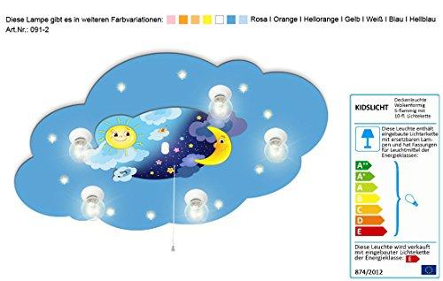 Kinderzimmerlampe mit Motiv Mond und Sonne mit Schlummerlicht / Farbe: Blau (auch in anderen Farben erhältlich) Kinderzimmerlampe Kinderlampe Deckenleuchte Nachtlicht Kinderzimmerleuchte