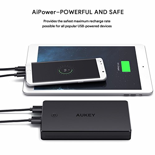 AUKEY 20000mAh electrica Bank by using Lightning Micro enter mobile Charger 34A rise USB result Battery Pack for iPhone X 8 Plus iPad Pro and significantly more travel Chargers