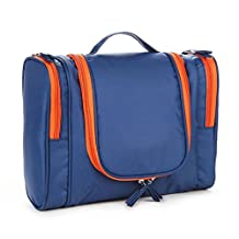 BTSKY® Washable Hanging Travel Toiletry Bag Organizer for Women Cosmetic Makeup or Men Shaving Kit (Dark Blue)