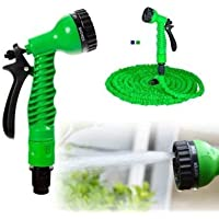 Hk Villa 50 Ft Expandable Hose Pipe Nozzle for Garden Wash Car Bike with Spray Gun and 7 Adjustable Modes Magic Flexible Water Hose Plastic Hoses Pipe with Spray Gun to Watering Washing Cars
