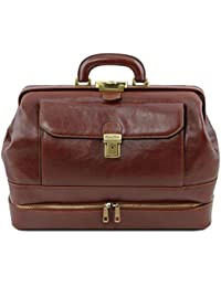 Giotto Exclusive double-bottom leather doctor bag Brown