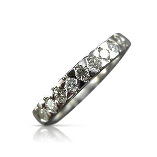 Milano Jewelers .36CT Diamond 14KT White Gold 9 Stone SEMI Bezel Anniversary Ring #5456