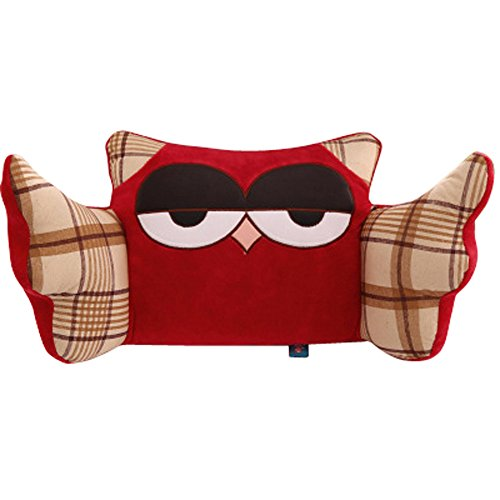 Osye Office People Nap Nursing Rest Cushion, Super Soft Velour Waist Pillow, Multi Otis Owl with Wings (Red)