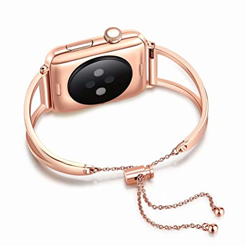 Juzzhou Bands For Apple Watch iWatch Series 1/2/3 Sport Stainless Steel Replacement Wristband Bracelet Wriststrap Watchband Wrist Strap Band With Buckle Metal Adapter Women Lady Girl Rose Gold 38mm by Juzzhou (Image #1)