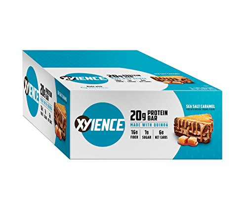 XYIENCE High Protein Bars | non-GMO | Soy-Free | 20g Protein | Sea Salt Caramel | 2.5 Ounce, 12 Count