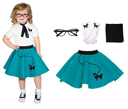 [Hip Hop 50s Shop Toddler 4 Piece Poodle Skirt Costume Set Teal] (Homemade Halloween Costumes For Adults Couples)
