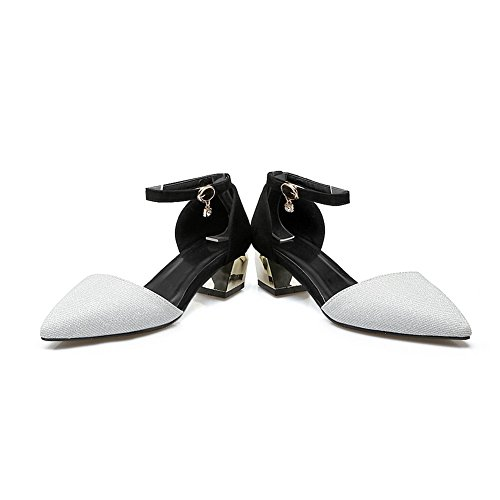 BalaMasa Womens Sandals No-Closure Fabric Light-Weight Huarache Sandals ASL04684 Silver iCqfOiby