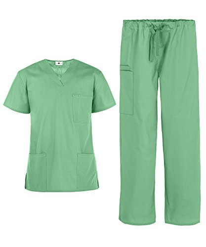 Men's Medical Uniform Scrub Set – Includes 3 Pocket V-Neck Top and Drawstring Pant (XS-3X, 14 Colors) (XX-Large, ()