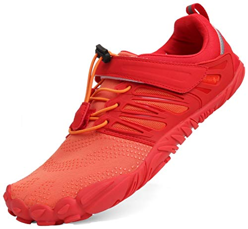 WHITIN Men's Minimalist Barefoot Shoes Low Zero Drop Trail Running 5 Five Fingers Wide Toe Box for Male Minimus Parkour Road Sport Beach Orange Red Size 13