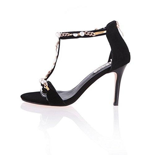 Black Open Frosted Solid Sandals Toe Women's Zipper Heels High AgooLar 5wSz6pqTc