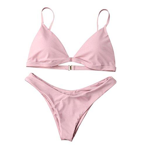 Getaway Bottom (Boyiya Women Padded 2 Pieces Push Up Swimsuit Revealing Thong Bikinis V Bottom Style Brazilian Bottom Bra Sets (M, Pink))