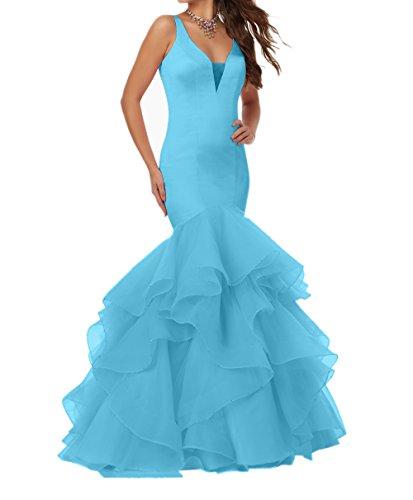 Meerjungfrau Ballkleider Blau Damen Charmant Abschlussballkleider Lang Abendkleider Figurbetont Promkleider Luxurioes qpwxxgf
