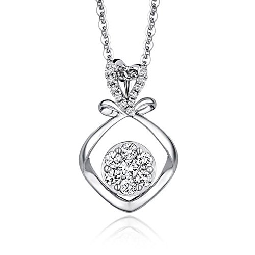 Beydodo Women Necklace,18k Real White Gold 0.98g Love Knot Pendant Round Brilliant Diamond Necklace by