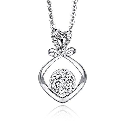 Adisaer 18k(750) White Gold Women Necklace 0.98g Love Knot Pendant Round Diamond Wedding Necklace by Adisaer (Image #3)