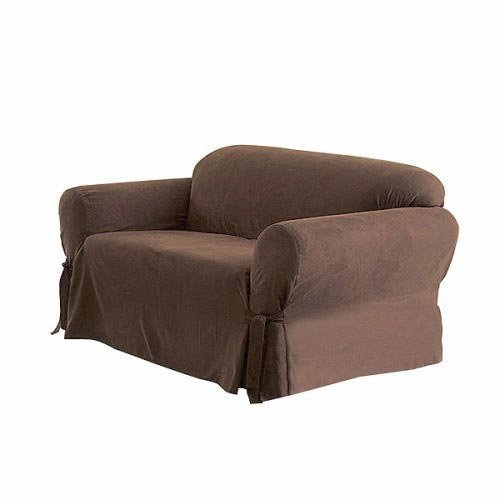 Soft Micro Suede Solid Chocolate Brown Loveseat Cover Slipcover Furniture Sofas Loveseats