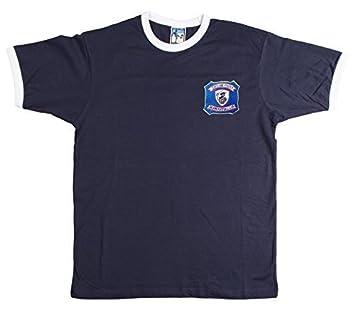 Falkirk - Camiseta de Fútbol Estilo Retro 1940s/50s con Escudo Bordado - Azul Marino