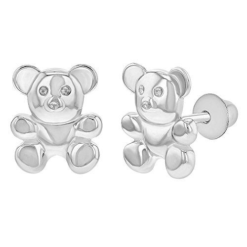 (925 Sterling Silver Little Teddy Bear Earrings Screw Back Baby Toddlers Girls)